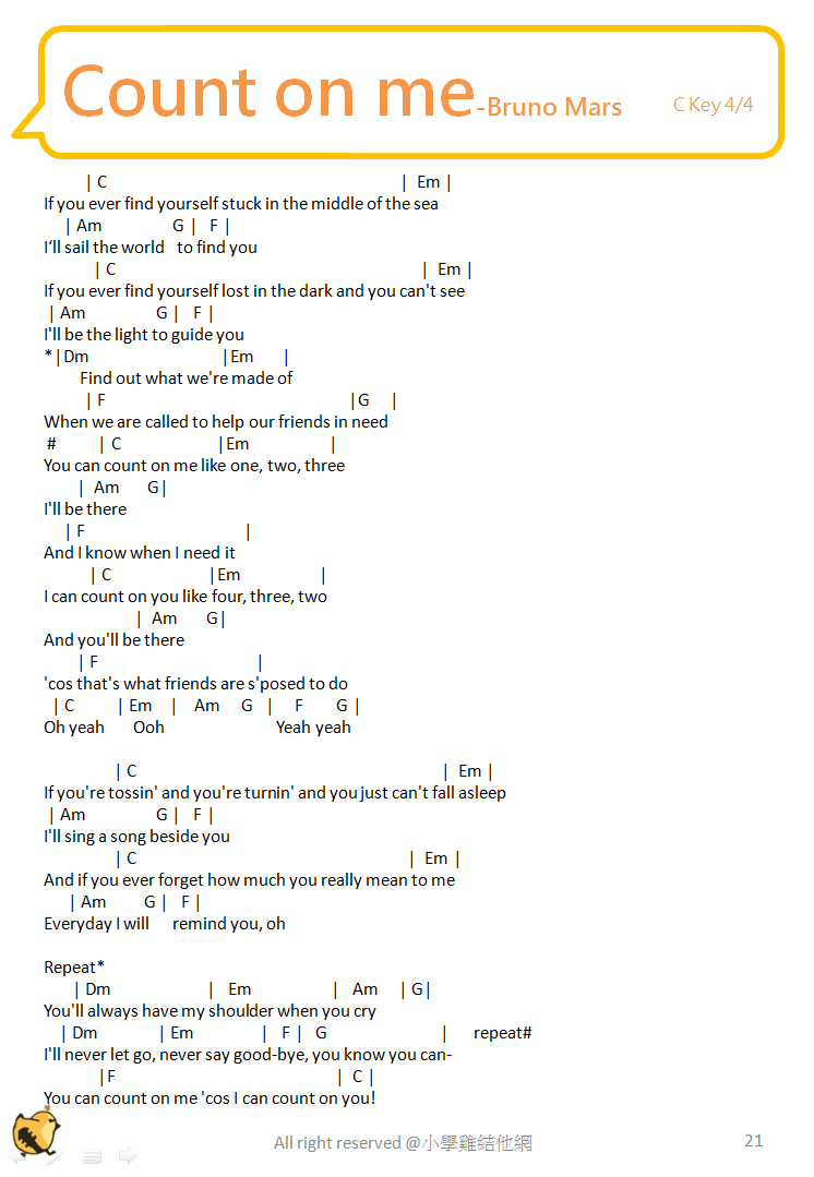 Chord On Me count on me by bruno mars guitar chords  : lyrics chord from blackhairstylecuts.com size 746 x 1079 png 47kB
