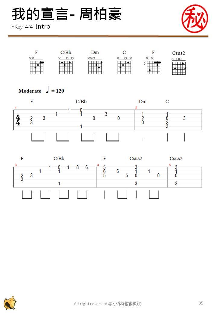 Chord f on